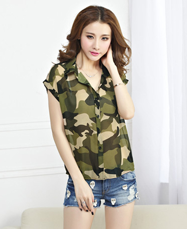6254961d76ebf Thin Summer Top Army Green Women Camouflage Shirt Short Sleeve Chiffon  Blouse V Neck Casual Femininas 2015 Female Shirts T97-in Blouses & Shirts  from ...