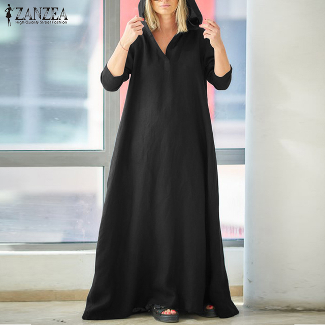 df6af7fe4e7 2018 ZANZEA Women Autumn Hoodies Long Sleeve Solid Maxi Long Dress Casual  Vintage Cotton Linen Loose Party Vestido Robe Sundress