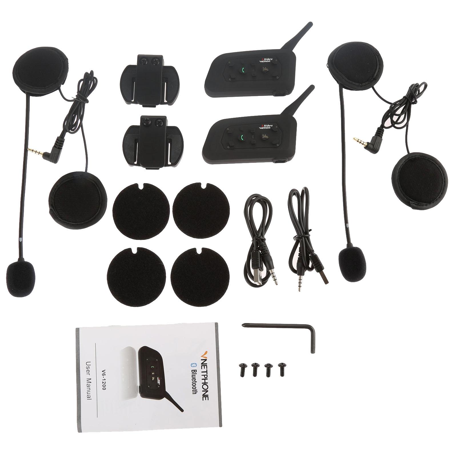 2 Pc V6 1200 m BT Multi Interphone Bluetooth casque de Moto Interphone casque pour 6 coureurs Moto Intercomunicador casque V6-1200