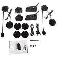 2Pc V6 1200m BT Multi Interphone Bluetooth Motorcycle Helmet Intercom Headset For 6 Riders Moto Intercomunicador Headset V6 1200