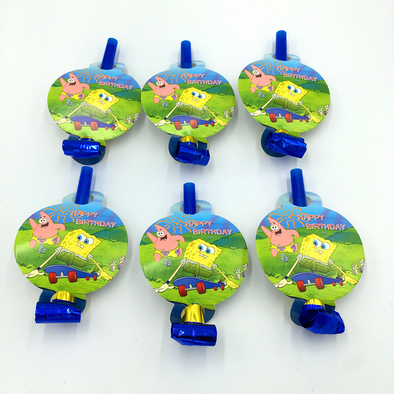 6PCS/LOT SPONGEBOB BLOWOUTS KIDS BIRTHDAY PARTY DECORATION  PARTY FAVORS SPONGEBOB BLOWOUT NOISE MAKER