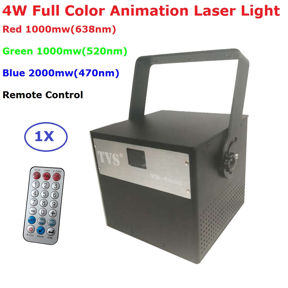 RGB 4W DMX512 Laser Scanner Projector Stage Lighting Effect Party Xmas DJ Disco Show Lights Full Color Animation Laser Light цена