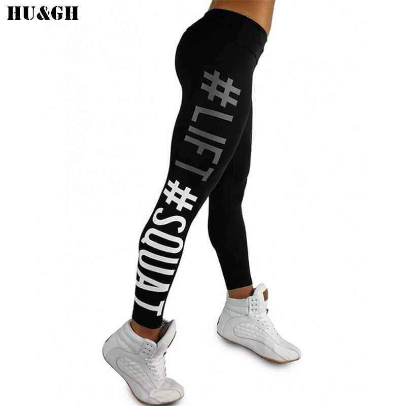 HU&GH Lift Squat Letter Print Women Fitness Leggings High Waist Push Up Leggins Elastic Sexy Jeggings Trouser Pants For Women