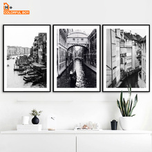 COLORFULBOY Modern Black White Building Landscape Canvas Painting Vintage Wall Art Prints Poster Pictures For Living Room