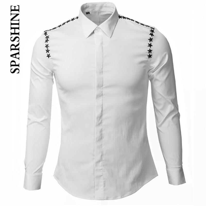 Brand Men Black White Shirt With Stars Long Sleeve Chemise Homme Unique Slim Fit Shirts Cotton Dress Shirts For Men Camisa