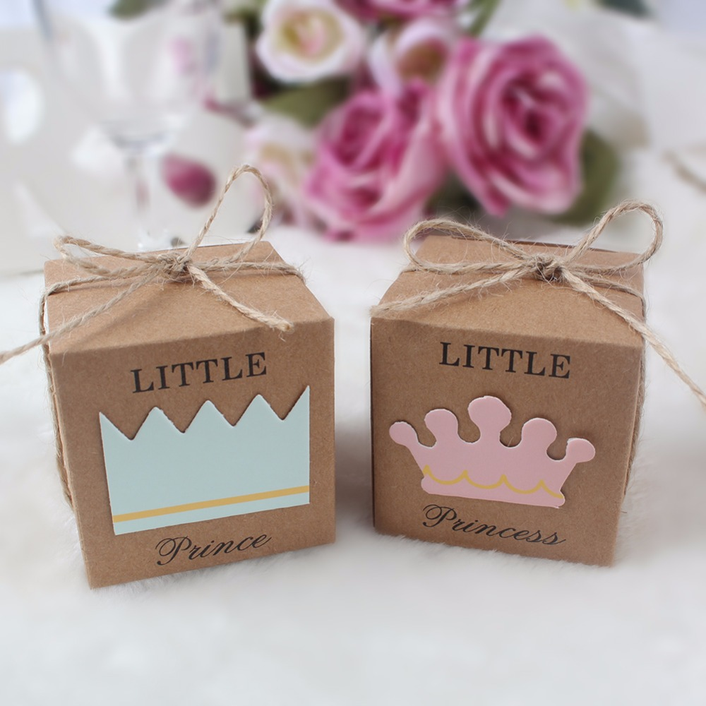 10pcs kraft paper gift box candy boxes baby shower for Wedding gift decoration