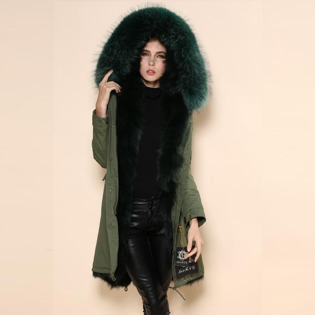 Online Shop Winter women long plus size real fox fur lined 2017 ...