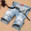 1 unids Hombres más el tamaño de los pantalones vaqueros cortos pantalones 2017 de Moda de Verano Puro algodón elástico pantalones cortos de mezclilla Ocasional pantalones cortos trajes Los Hombres jóvenes