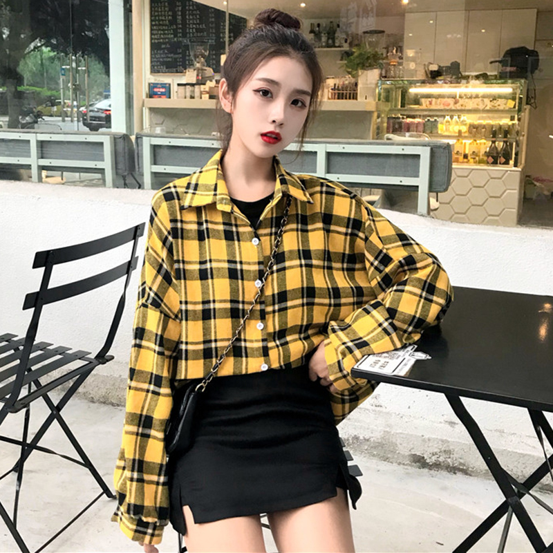 Doprava zdarma 2019 Podzimní pískovaná kostkovaná košile s dlouhým rukávem, dámská košile Slim neformální košile