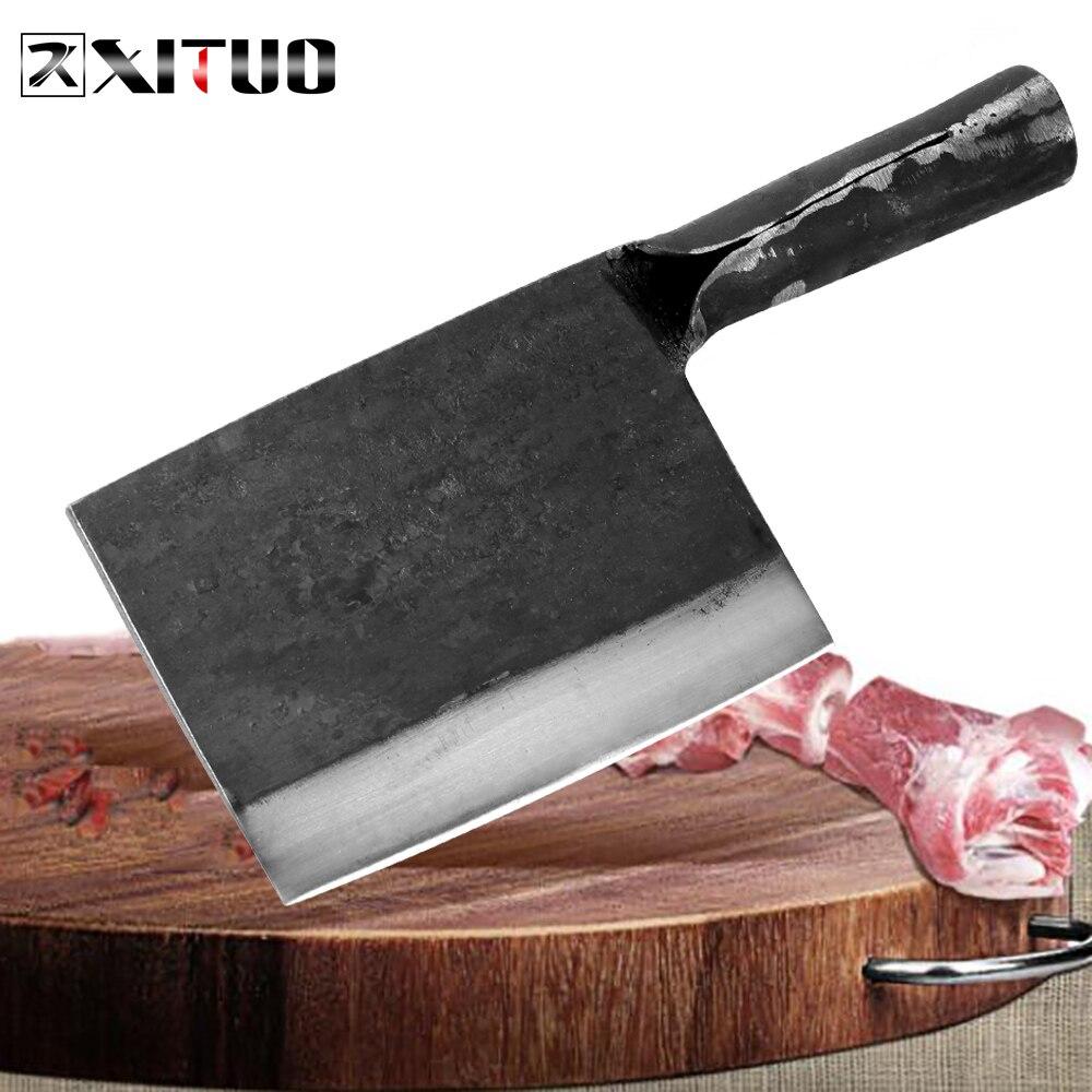 XITUO нож для мясника ручной работы, кованая Высокоуглеродистая сталь, китайский кухонный нож шеф-повара, нож для мясорубки с острым мясом, тяж...