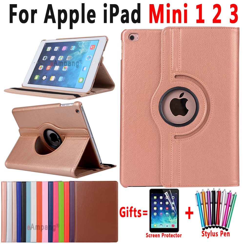 360 graders roterande Litchi-mönster Läder Smart Shell Cover-fodral till Apple iPad mini 1 2 3 7,9 tums Coque Capa Funda + Pen + Film