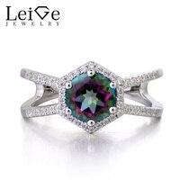 Leige Jewelry Solid 925 Sterling Silver Mystic Topaz Engagement Rings Round Cut Rainbow Gemstone November Birthstone
