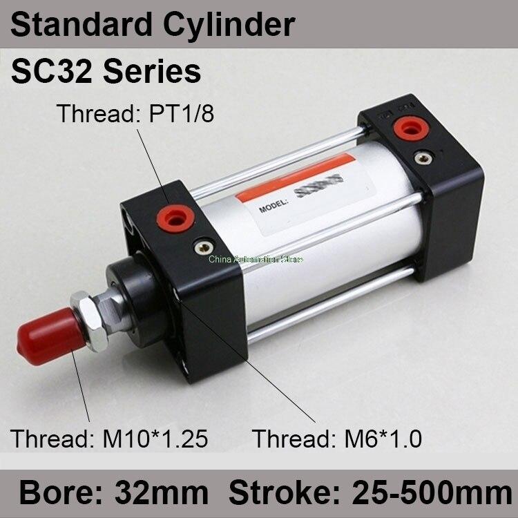 SC32 * 100 Ücretsiz kargo Standart hava tüpleri vana 32mm bore 100mm İnme SC32-100 tek rod çift etkili pnömatik silindir