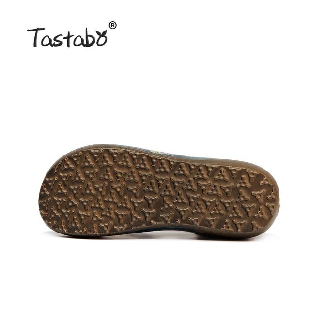 Tastabo Genuine Leather Gladiator Sandals Fashion Low Wedges Flower Summer Shoe Ladies Platform Sandals Shoes Women Flat Shoes 6