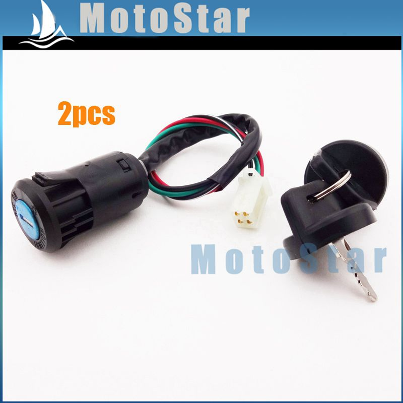 2pcs 4 Wire On Off Stop Kill ATV Ignition Key Switch For 50cc 70cc