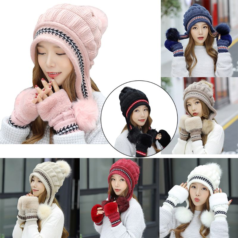 2Pcs/Set Women Winter Thicken Chunky Knitted Earflap Hat With Gloves Jacquard Striped Rabbit Fur Beanie Cap Pompom Ball Fingerle