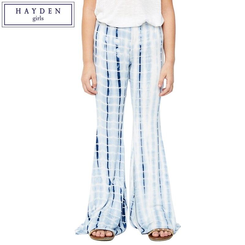 HAYDEN Kids Girls Wide Leg Pants Girls Flare Trousers 11 12 Years Teen Girl Pants Flared Tie Dye 2017 Designer Brand Clothes tie waist wide leg striped cami jumpsuit