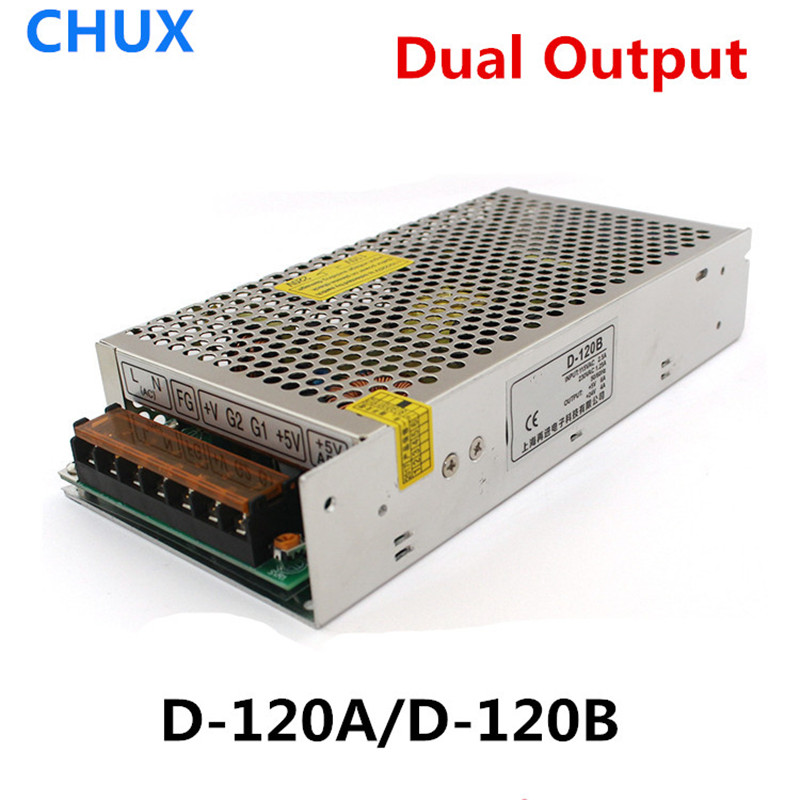 CHUX Dual output Switching power supply 120W 5V 12V 24V AC to DC Converter D-120A D-120B SMPS LED Power Supply power supply 12v 2a switching power supply ac to dc smps led converter 12v 25w uninterruptible power supply high efficiency