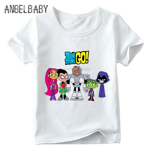 4890119a7 Los niños de dibujos animados Teen Titans ir divertido T camisa verano bebé  niños niñas