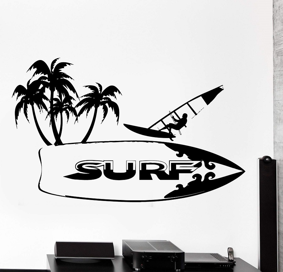 Image 1 - Surf sport surfboard vinyl Wall Sticker surf enthusiast adventure seaside teen bedroom school dormitory home decor Sticker 2CL23-in Wall Stickers from Home & Garden