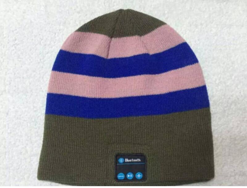 Беспроводной Bluetooth V4.2 Beanie для мальчиков и девочек, мужчин и женщин, вязаная зимняя шапка для наушников, ручной Mp3 микрофон, волшебная музыка, умная шапка+ подарочная коробка - Цвет: Green Blue Striped