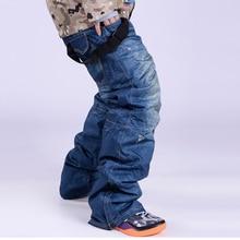 SkisTrousers font b snowboard b font font b pants b font Denim Suspenders Ski Waterproof Breathable