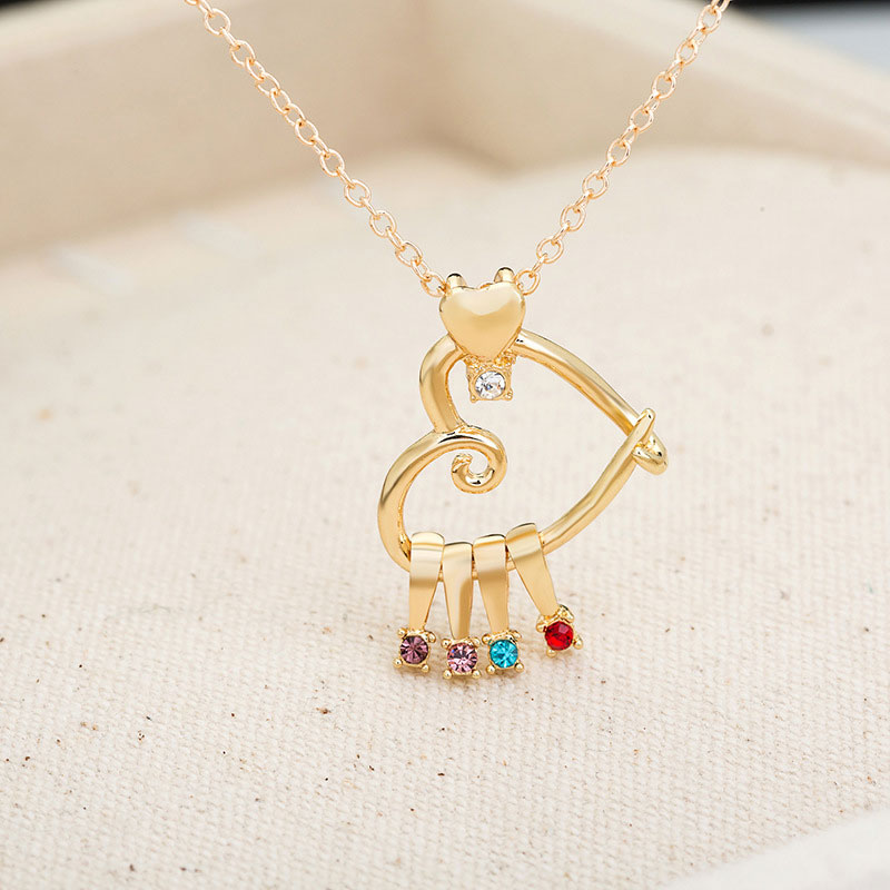 Fashion Gold Hollow Rhinestone Heart Necklace Alloy Pendant Necklaces Chain for Women Girls  Jewelry Gift