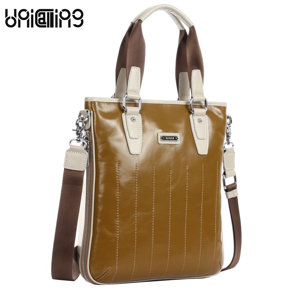 UniCalling men bag men's oil wax genuine leather crossbody handbag luxury brand men bag business messenger bag vintage yellow