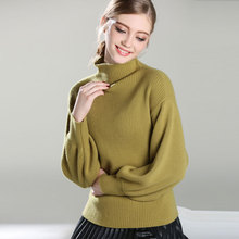 2017 New 100% Pure Cashmere TOP quality Knitted thick turtleneck Pullovers thick loose lantern sweaters for women lady's