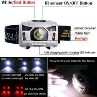 2017 New Mini Rechargeable 3000Lumen CREE LED Headlamp IR Motion Sensor Headlight Camping Torch Lamp