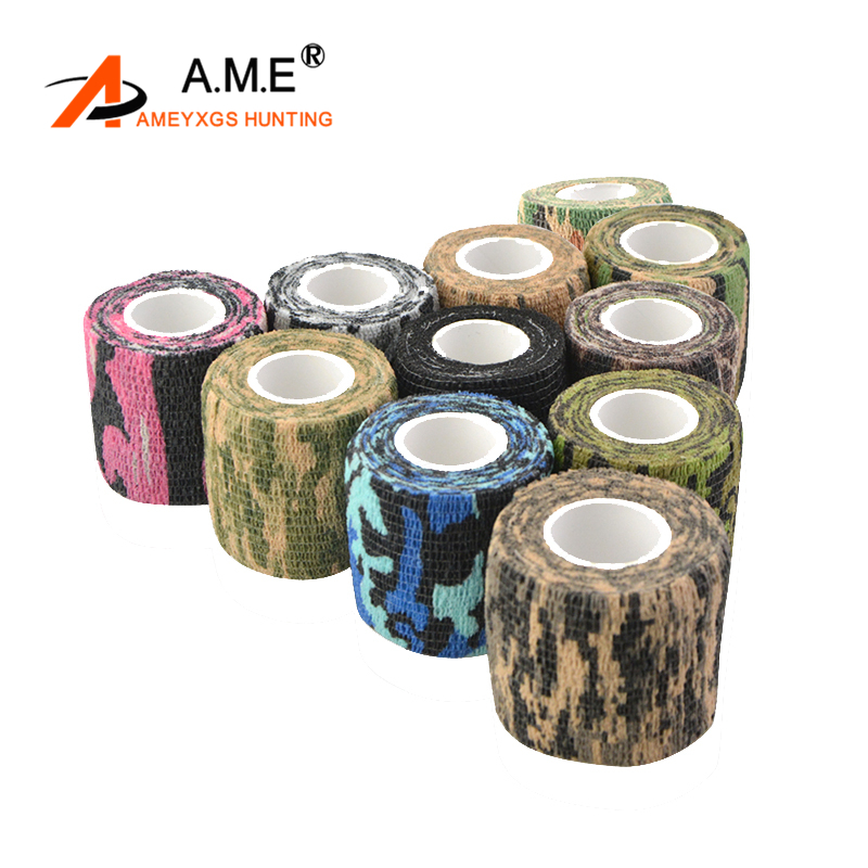 5cmX4.5cm Archery Camo Outdoor Hunting Shooting Tool 5cmx4.5m Camouflage Stealth Tape Waterproof Wrap Outdoor Accessory C