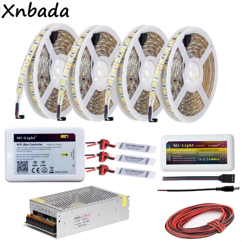 5~20M Led Strip SMD5050 Color Temperature Flexible Light DC12V,Mi light Wifi Ibox2 Led Controller Power Supply Driver Kit