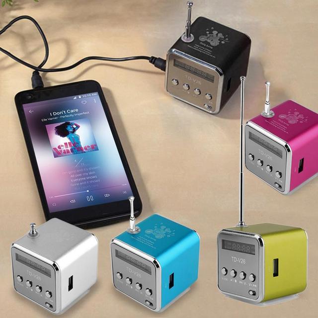 新売主は、ポータブルミニサポート SD TF カードマイクロ USB ステレオ超低音スピーカー MP3/4 音楽プレーヤー FM ラジオディスプレイ IB