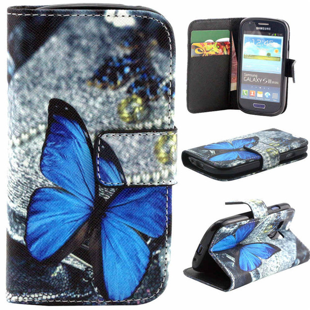 Fashion Painting Case PU Leather Flip Cover For Samsung Galaxy S3 Mini I8190