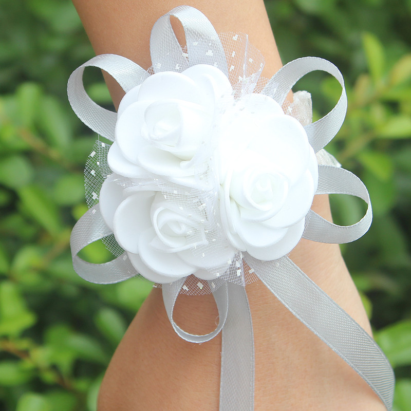 Купить с кэшбэком WifeLai-A 1piece PE Rose Hand Wrist Flower with ribbon Wedding Accessories for Wedding Bride Boutonniere and Groom SW003