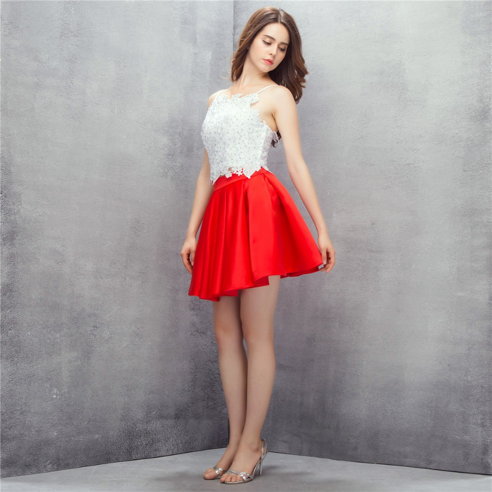 White And Red Two Pieces Cocktail Party Dresses Short Satin Lace Appliques Girls Homecoming Dresses