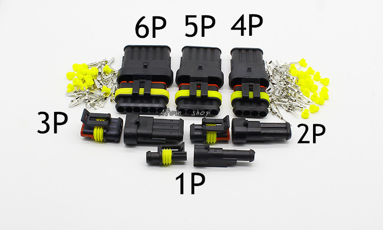 5 sets Kit Way Waterproof Electrical Wire automotive Connector Plug for car with registered 20 sets kit 1 pin waterproof electrical wire cable automotive connector plug for car