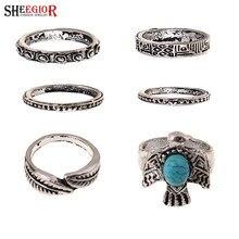 6ba6147b8811 SHEEGIOR nueva vendimia turquesa anillos para mujeres accesorios Boho hoja  de plata paloma 6 piezas hombres anillo conjuntos de .