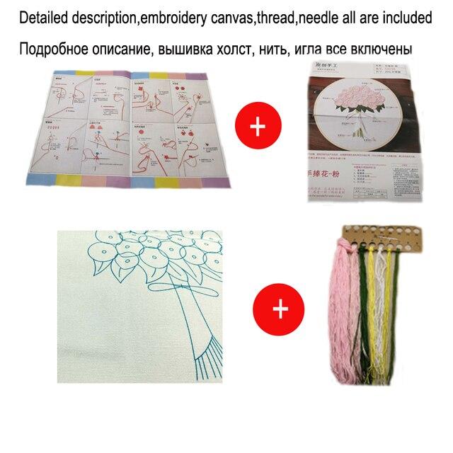 Ruban Fleurs Broderie Ensemble avec Cadre pour Débutant Couture Kits Point De Croix Série Arts Artisanat Couture Décor 8