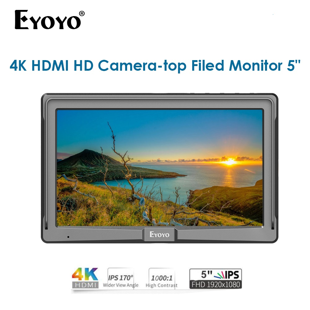 Eyoyo 5inch Camera Field Monitor 1920*1080 FHD IPS Screen Camera Field Monitor Display for DSLR Camera 4K MonitorEyoyo 5inch Camera Field Monitor 1920*1080 FHD IPS Screen Camera Field Monitor Display for DSLR Camera 4K Monitor