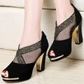 2015 Centenary fashion rhinestone sandals spring and summer thick heel gauze open toe sandals ultra high heels