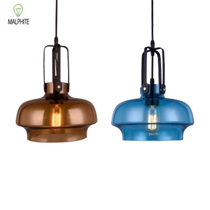 Nordic Color Glass Pendant Light Retro Restaurant Lighting Luminaire  Cafe Bar Industrial Decor Kitchen Lamp Fixtures