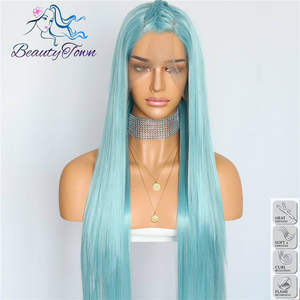BeautyTown HandTied Light Blue Heat Resistant Fiber Straight Cosplay Celebrity Girl Wedding Party Synthetic Lace Front Wigs