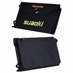 Image 2 - Suaoki 20 ワットソーラーパネル充電器高効率ポータブル太陽電池屋外ソーラーパネルデュアル USB 出力 Easycarry 太陽電池