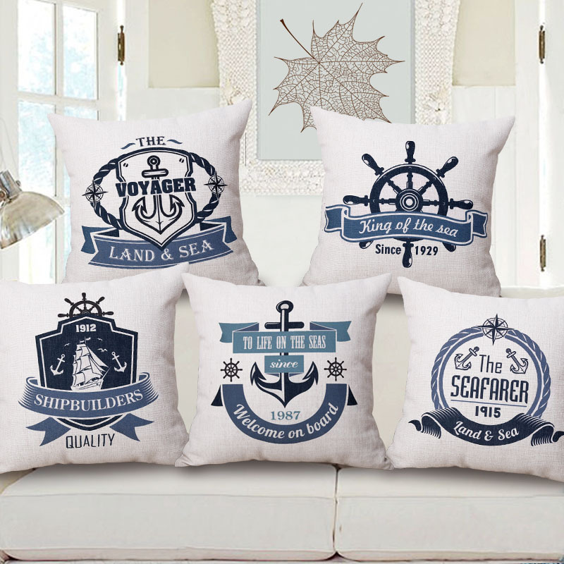 Nautical Simple Style Decorative Cushion Cover Rudder Anchors Cotton Extraordinary Nautical Decorative Pillow Covers