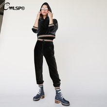 CWLSP 2018 Autumn Tracksuit For Women Two Piece Set Patchwork Crop Tops Hoodies And Solid Pants Casual Woman Clothes QA2773