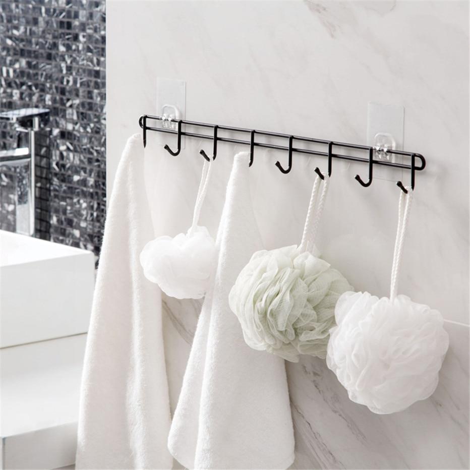 Bathroom Kitchen Tools Organizer 8 Hooks Towels Key Holder Cupboard Wardrobe Clothes Storage Rack Shelf2