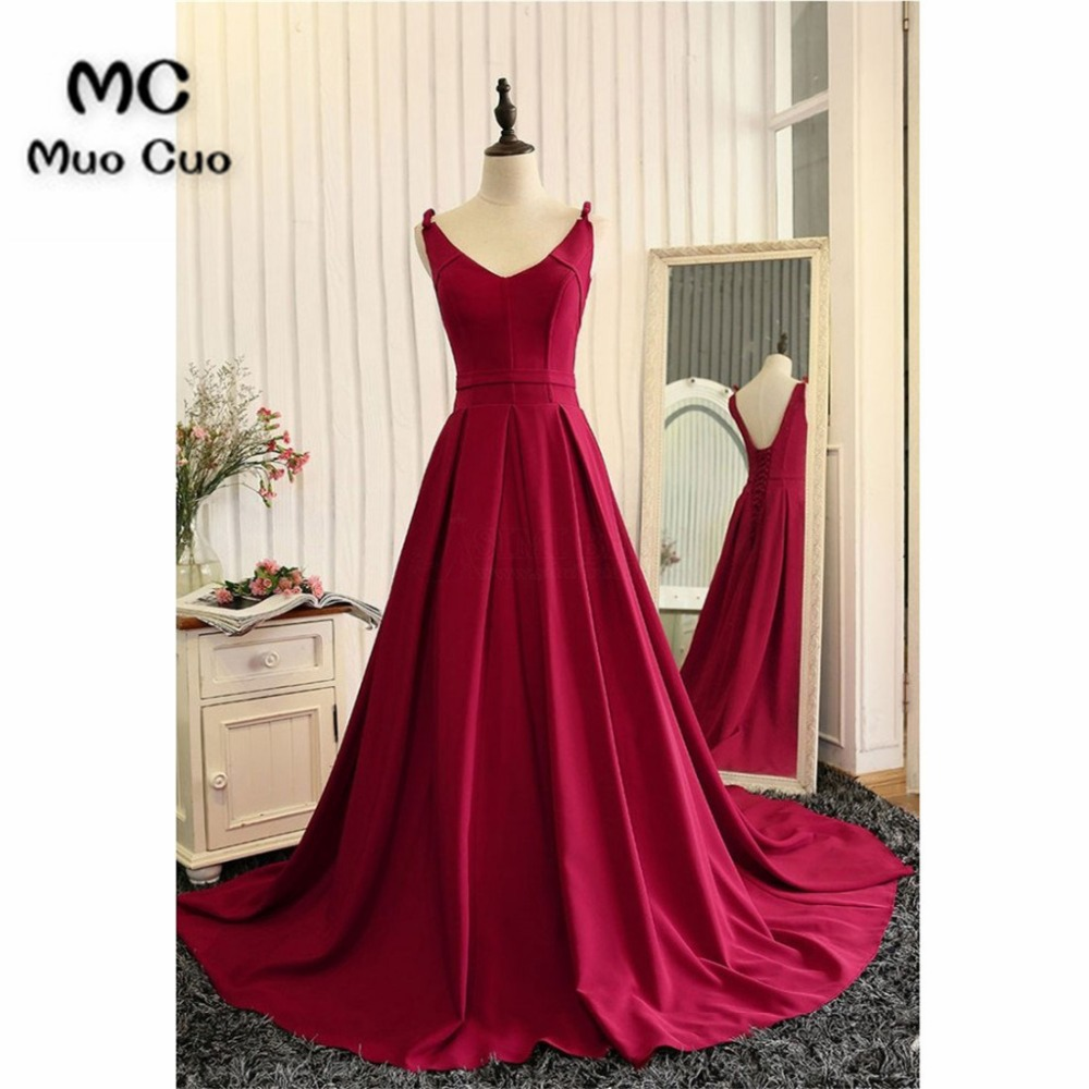 Cheap 2018 Burgundy   Prom     dresses   Double V-Neck Tank Count Train Long Graduation   Dresses   Chiffon Burgundy Evening   Prom     Dress