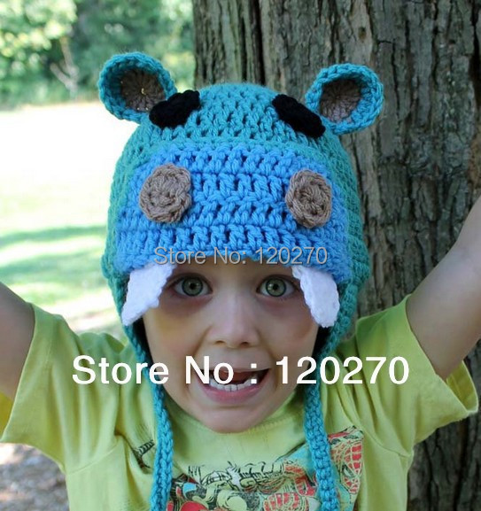 6ee46296317 Free Shipping Children s Happy Hippo Crochet Hats Earflap Baby Boys Knitted  Caps Cotton Infants Hat Kids Crochet Striped Beanies