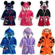 Зимой ребенка минни микки частный халат фланель халат детская одежда малыш досуге одежды Loungewear и ночное 6 цвета